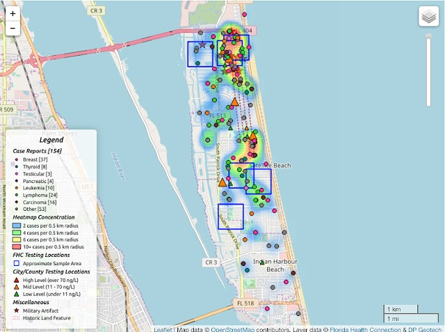 Satellite Beach Cancer Cluster Maps