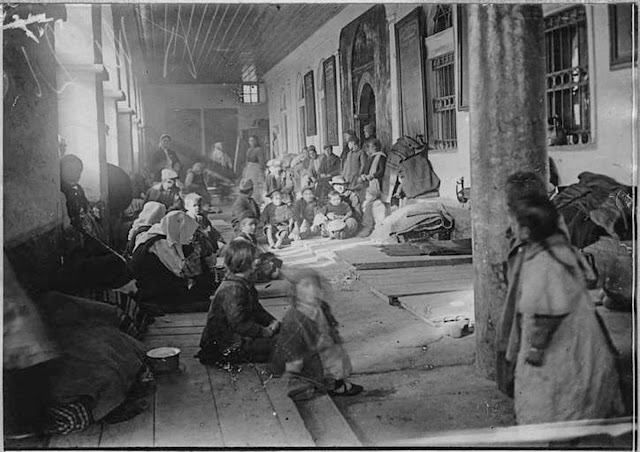 In the streets of Monastir (Bitola) (February 1917). The victims of the bombardment awaiting their evacuation in the sacristy of St Dimitrij.