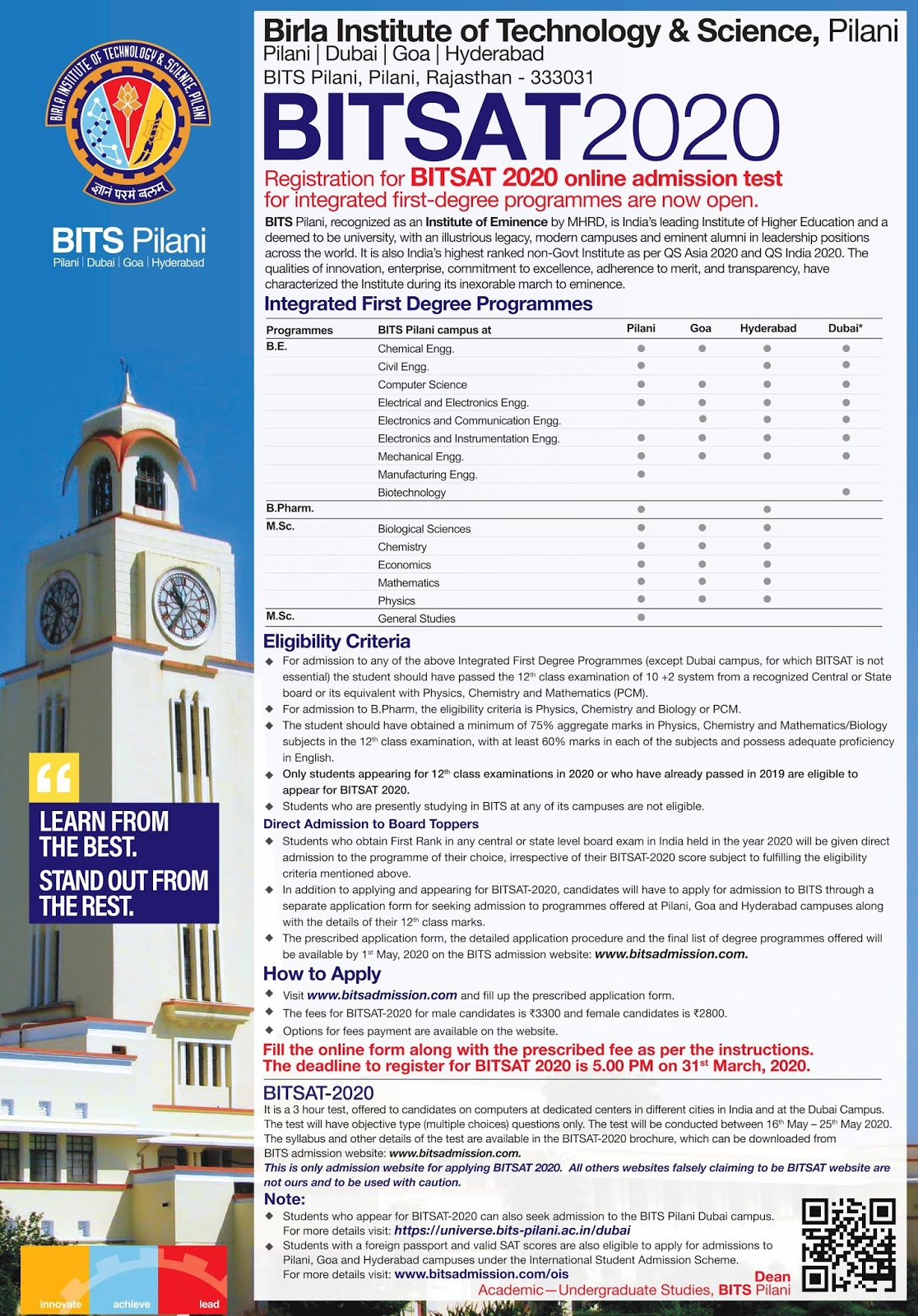 BITSAT Birla Institute of Technology and Science Admission Notification for Integrated First Degree Programmes Apply Online @bitsadmission.com /2020/01/BITSAT-Birla-Institute-of-Technology-and-Science-Admission-Notification-for-Integrated-First-Degree-Programmes-Apply-Online-at-bitsadmission.com.html