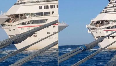 Video Detik-detik Dua Kapal Pesiar Bertabrakan