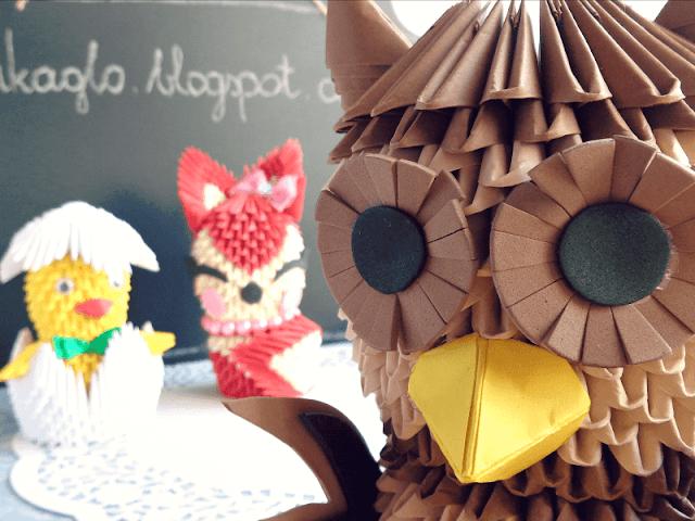origami modulowe, mikaglo, sowa, lis, kurczak