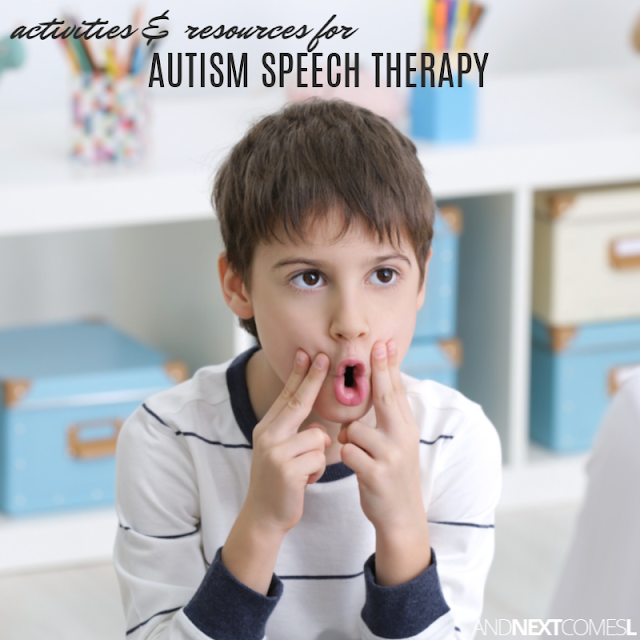 Resources and printables to do speech therapy for autism at home, including autism speech therapy activities