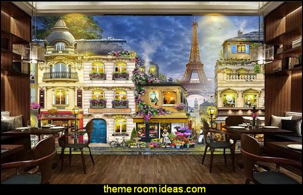French street cafe painting 3d wall mural wallpaper