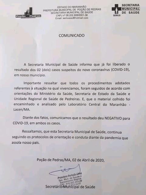 Secretaria Municipal de Saúde descarta os dois casos suspeitos de coronavírus em Poção de Pedras