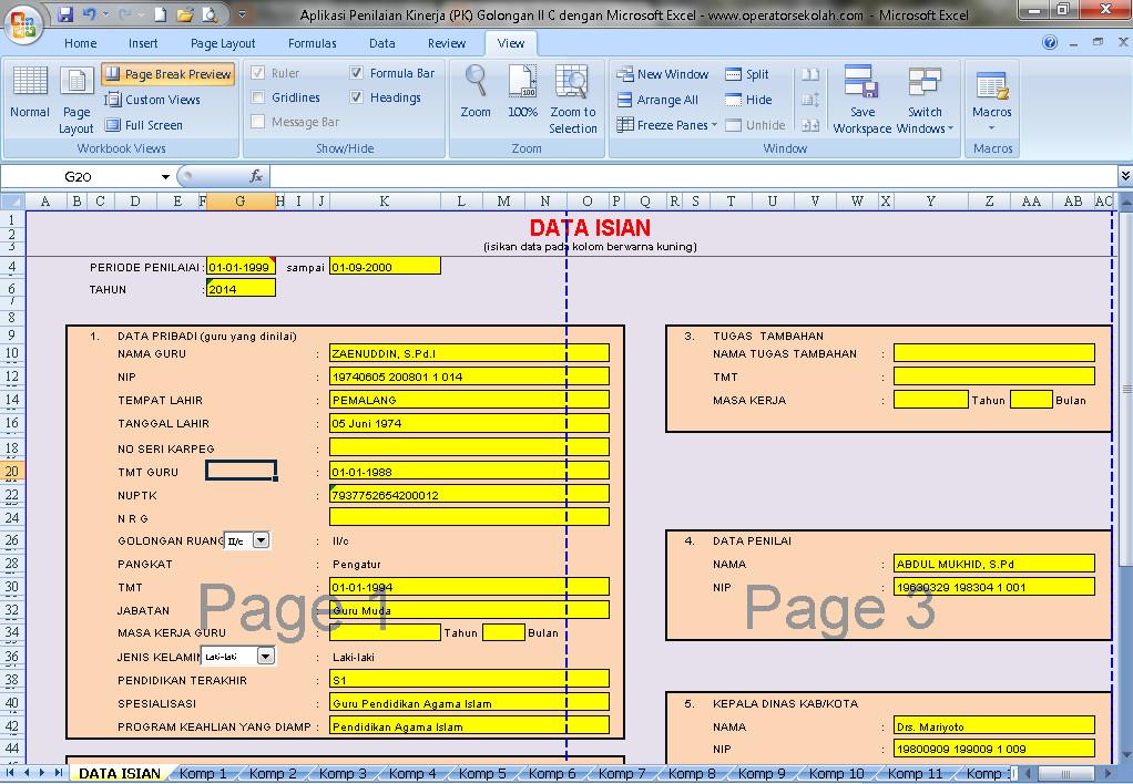 Software Penilaian Kinerja (PK) Golongan II C Berbasis Aplikasi Excel Free Download