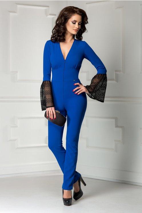 Salopeta eleganta de ocazii albastra lunga cu maneci dantela