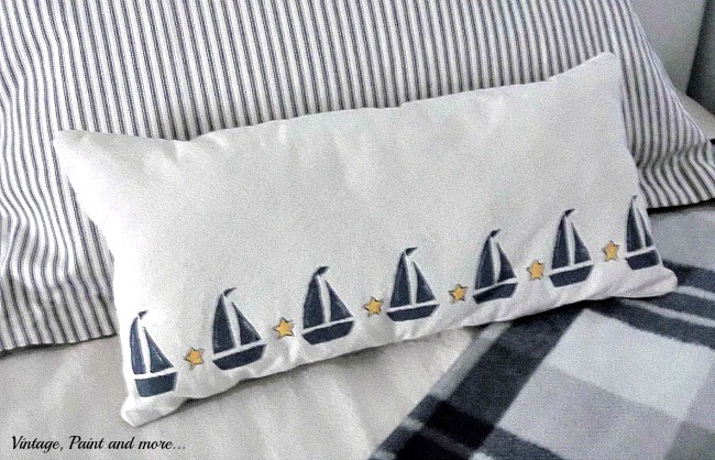 Vintage, Paint and more... painted and stenciled sailboat pillow made with drop cloth fabric