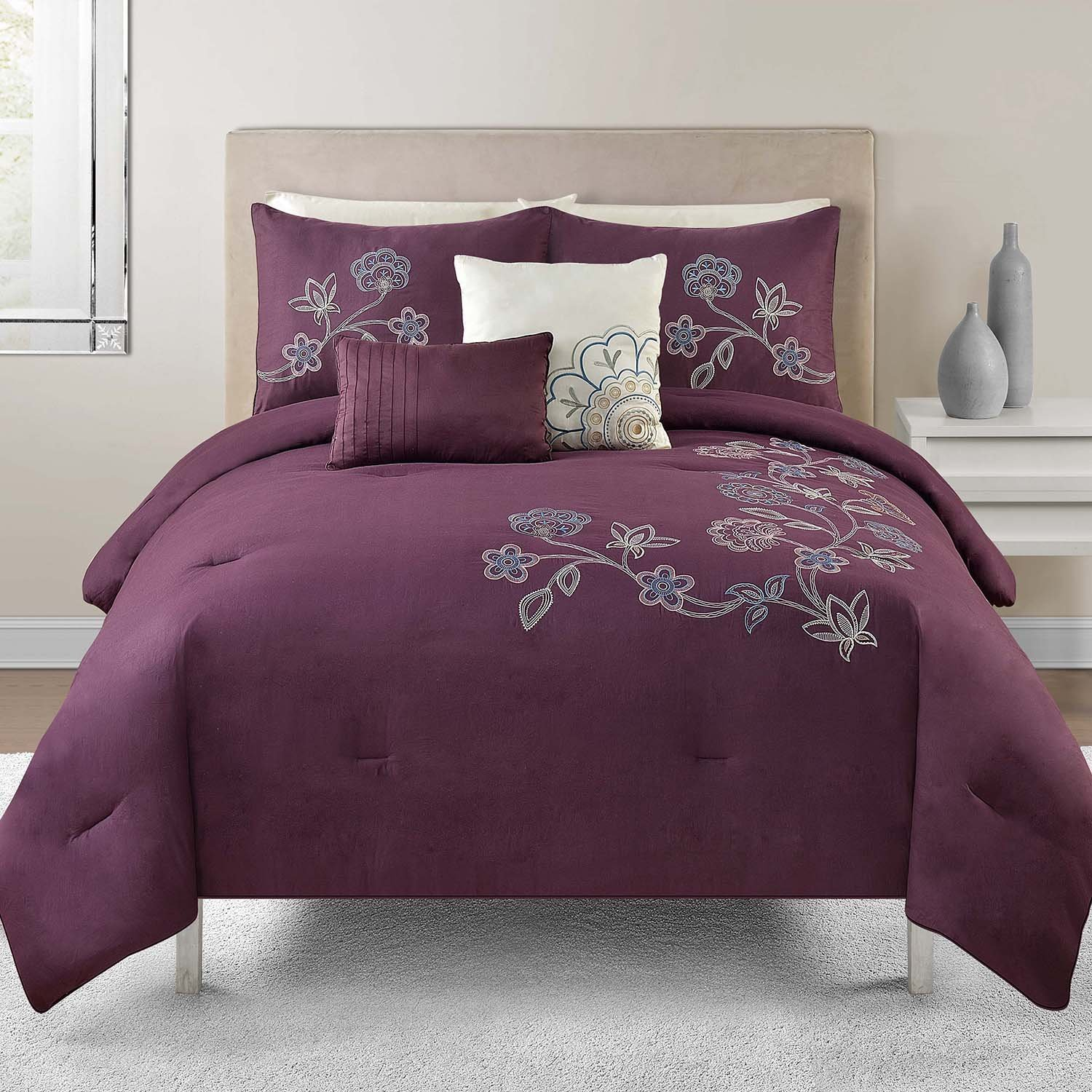 Purple Gray And White Bedroom: Grey And Purple Comforter & Bedding Sets