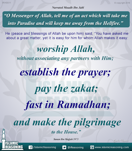 Acts with will take to paradise and keep away from the hell fire | Islamic Reasoning Designs
