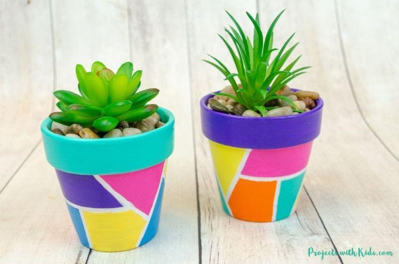 geometric painted flower pots