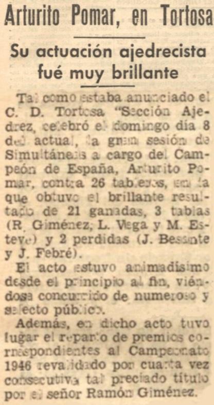 Arturo Pomar en el Diario Español de Tarragona, 17/9/1946