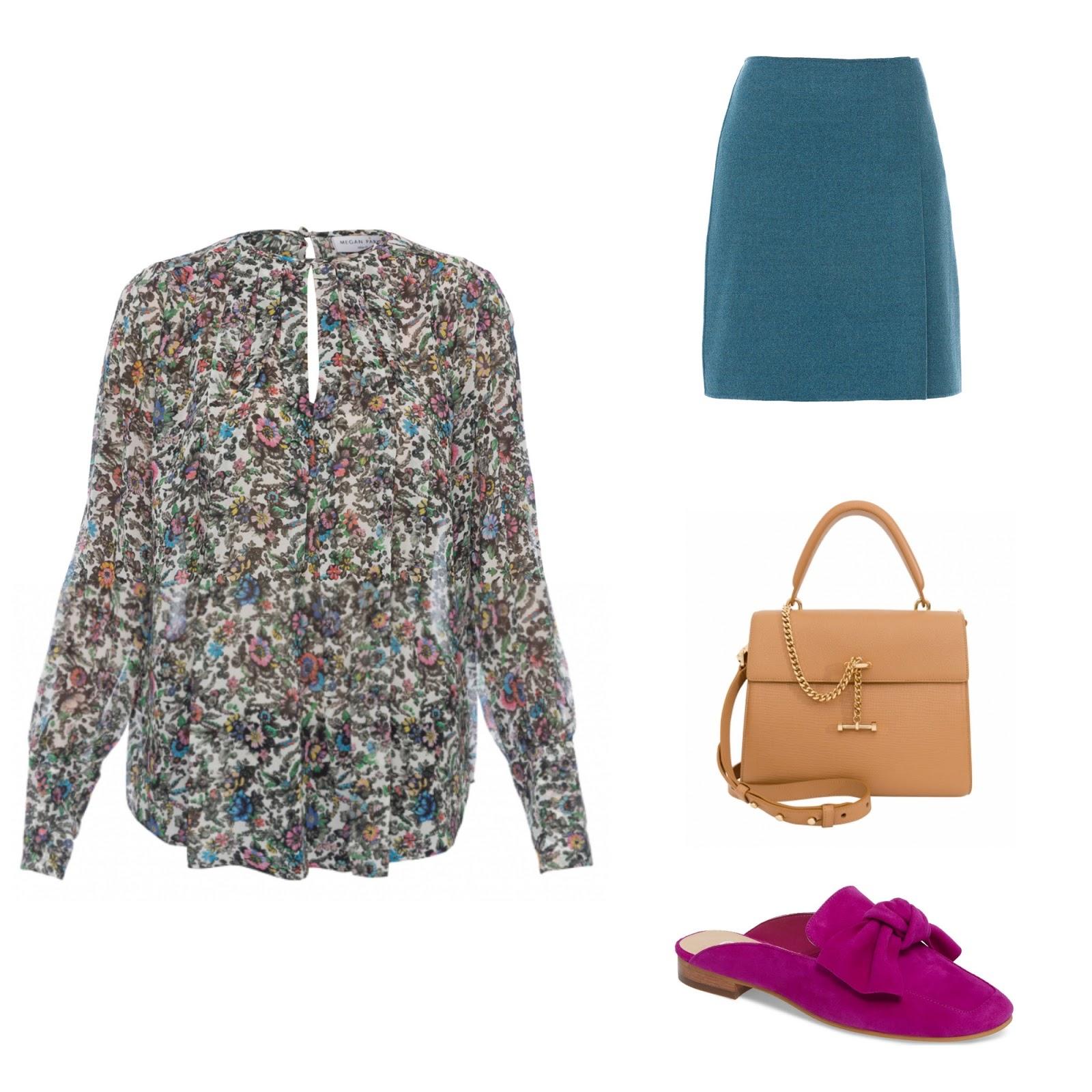 9bd237ca1ef8e8 Megan Park White Floral Silk Georgette Blouse, Weekend MaxMara skirt, Luana  Italy Paley Wild Honey satchel, ...