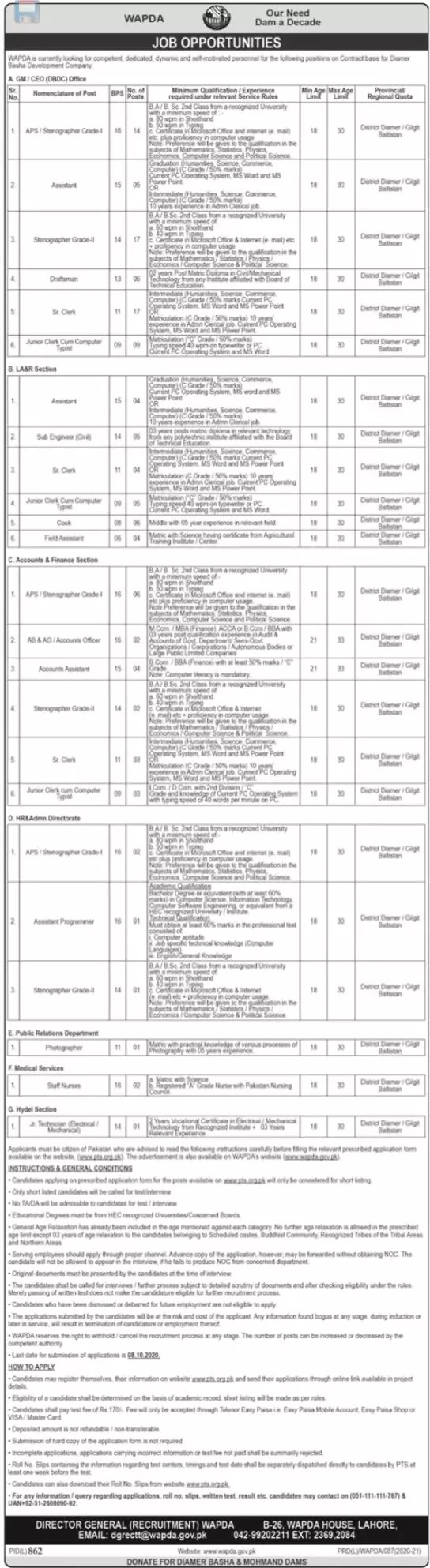 120 + JOBS IN WATER AND POWER DEVELOPMENT AUTHORITY JOBS 2020