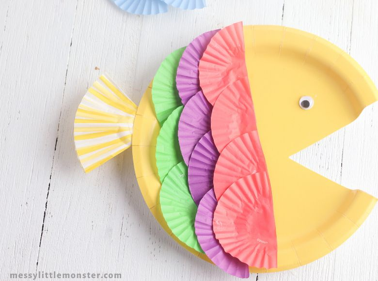paper plate rainbow fish under the sea craft