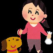 犬の散歩のイラスト(女性)