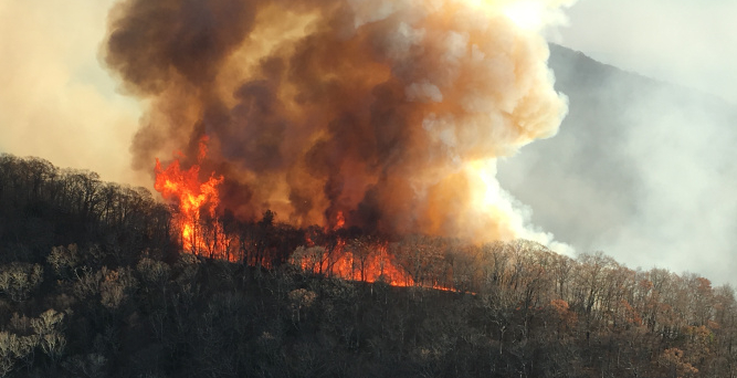 Rock Mountain Fire  Photo taken Nov 17th by Noel Livingston  Image cropped by Macon Media