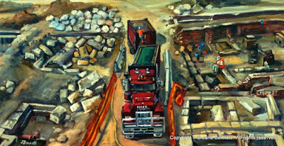 Plein air oil painting of archaeologists excavating the KENS site near Barangaroo painted by industrial heritage artist Jane Bennett