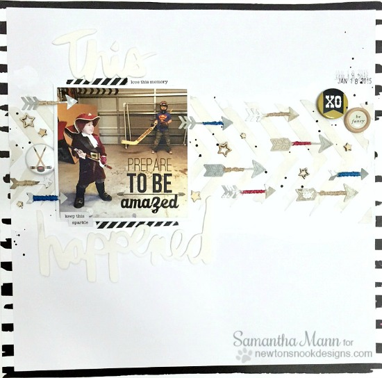 Arrow die cut Scrapbook Page by Samantha Mann | Points & Plumes dies set by Newton's Nook Designs #newtonsnook