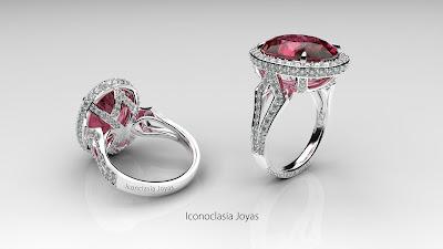 Increíble anillo de oro blanco y brillantes