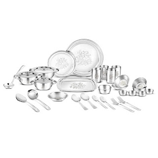 Classic Essentials Glory Stainless Steel Dinner Set, 61-Pieces