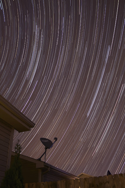purple star trails in backyard