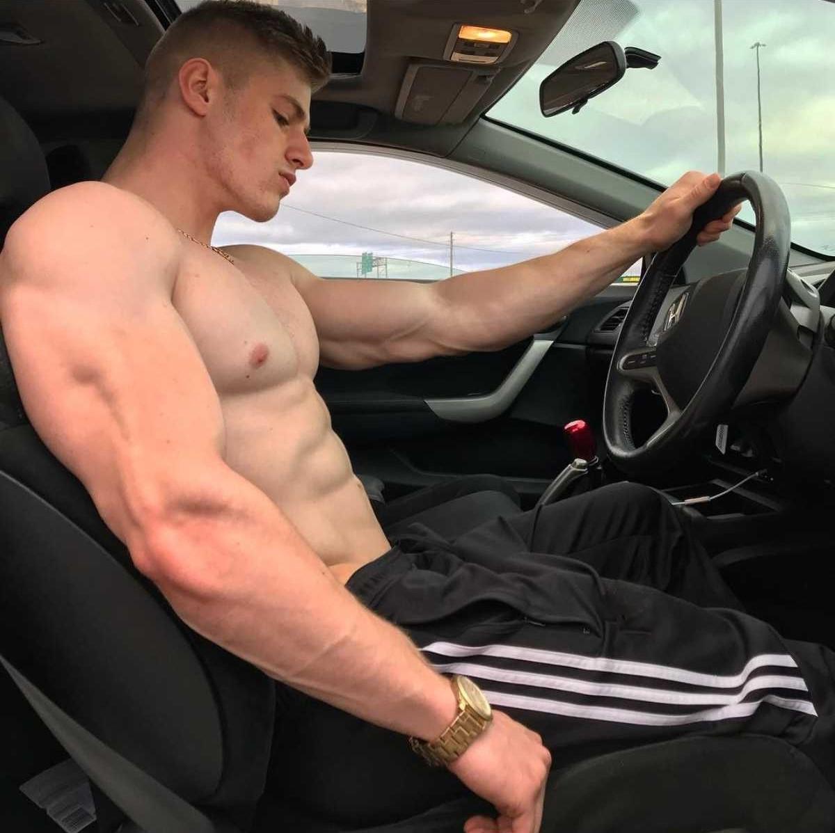 cocky-beefy-shirtless-dudes-muscular-bro-driving-car-shirtless-bad-boy-buff-body-huge-biceps