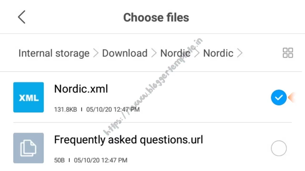 Select the .xml file from the template that has been downloaded, and saved on your device