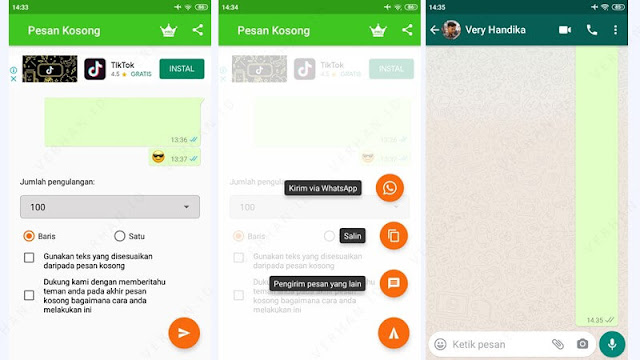 cara spam chat wa menggunakan aplikasi blank message