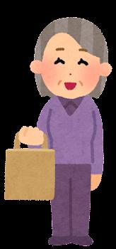 紙袋を持つ人のイラスト(おばあさん)