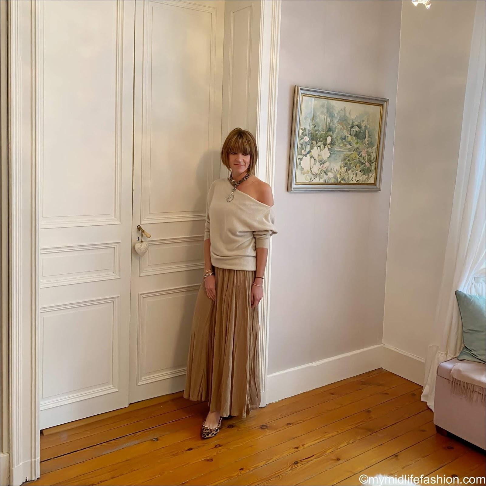 my midlife fashion, h and m lyocell skirt, zara off the shoulder cashmere jumper, leopard print flat ballet pumps