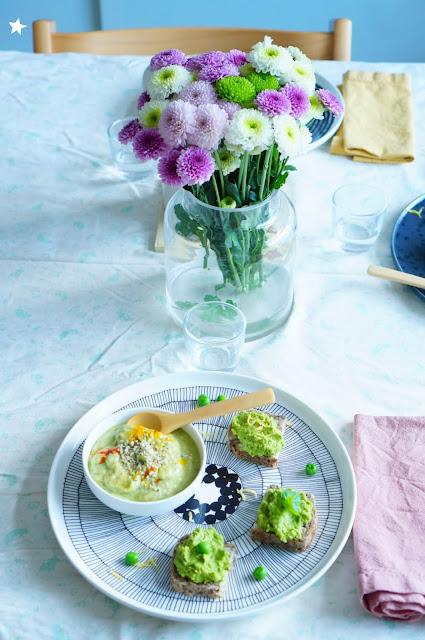 soupe crue avocat concombre tartinade petits pois menthe coco vegan sans gluten manger sain