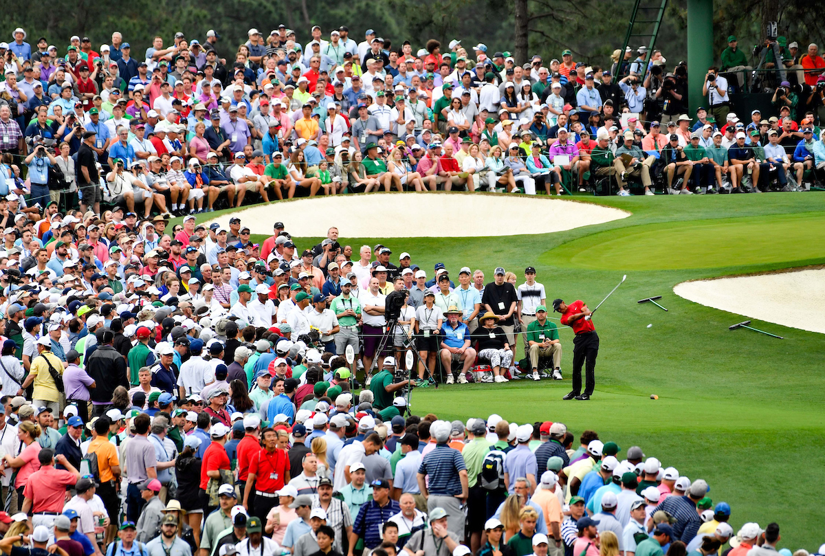 Tiger Woods hits his tee shot on the 3rd hole during the final round of The Masters