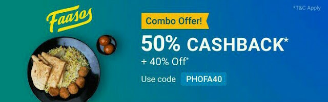 Faasos offer-Get 50% cashback  + 40% off* on Faasos food order every day