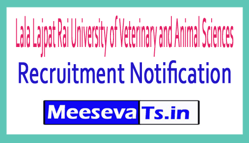Lala Lajpat Rai University of Veterinary and Animal Sciences  LUVAS Recruitment 2018