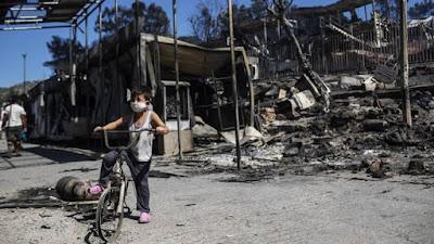 Europa: un incendio destruyó campo de refugiados de Moria y deja sin techo a casi 13.000 personas