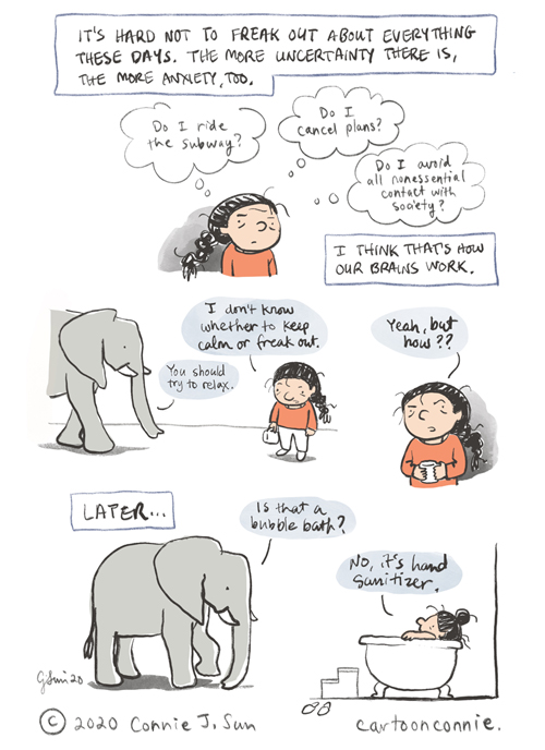 elephant, comics, anxiety, humor, connie sun, cartoonconnie, journal comic, sketchbook, illustration