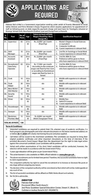 Pakistan Bait-ul-Mal PBM Jobs 2020 Latest Advertisement