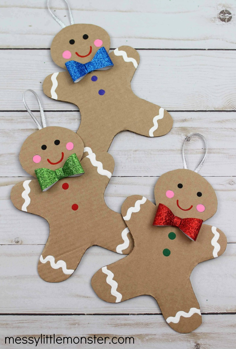 Cardboard gingerbread man craft with gingerbread man template printable.