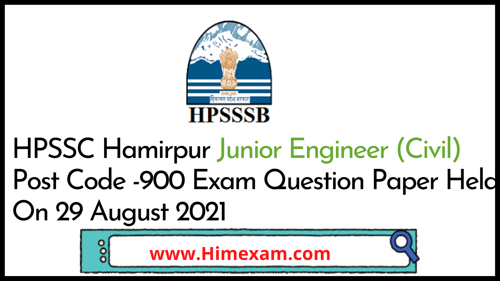 HPSSC Hamirpur Junior Engineer (Civil)  Post Code -900 Exam Question Paper Held On 29 August 2021