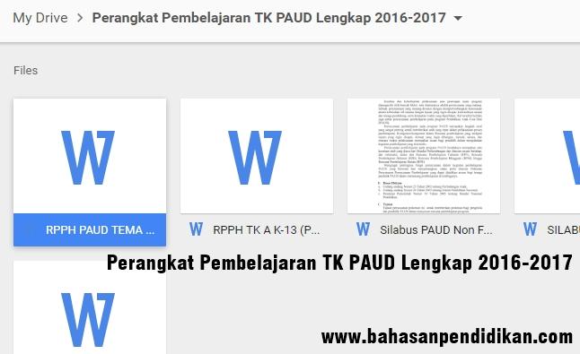 Download Perangkat Pembelajaran Tk Paud 2016 2017 Lengkap Id Pns