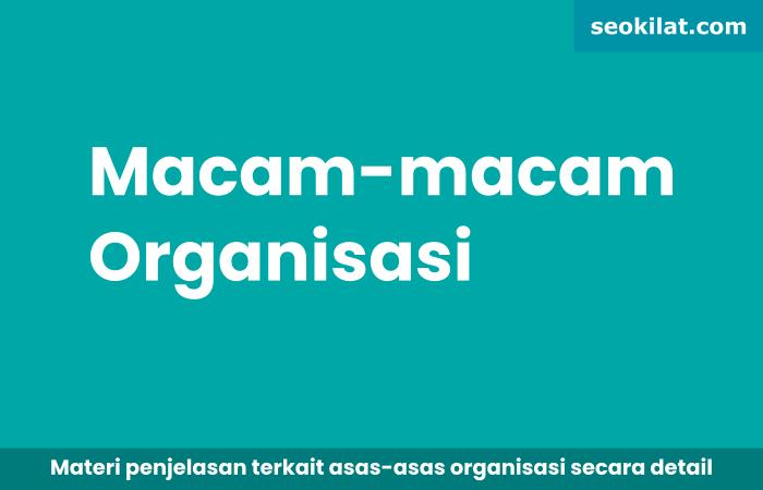 Sebutkan Macam-Macam Organisasi