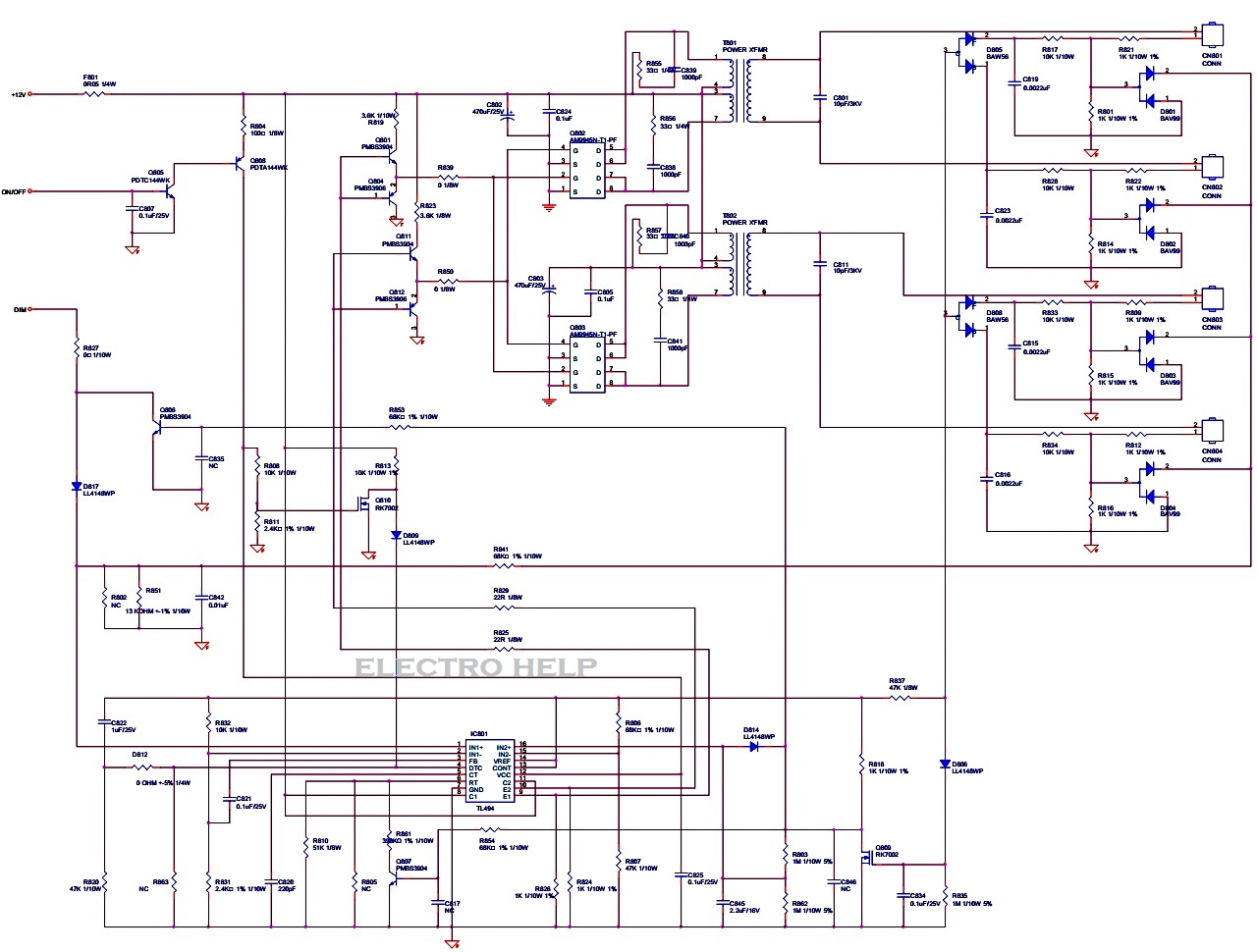 ACER X193W TFT Color LCD MONITOR  Power and Backlight Inverter Schematic | Electro help