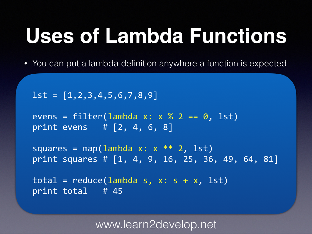 Learn2Develop Net: Uses of Python Lambda Functions