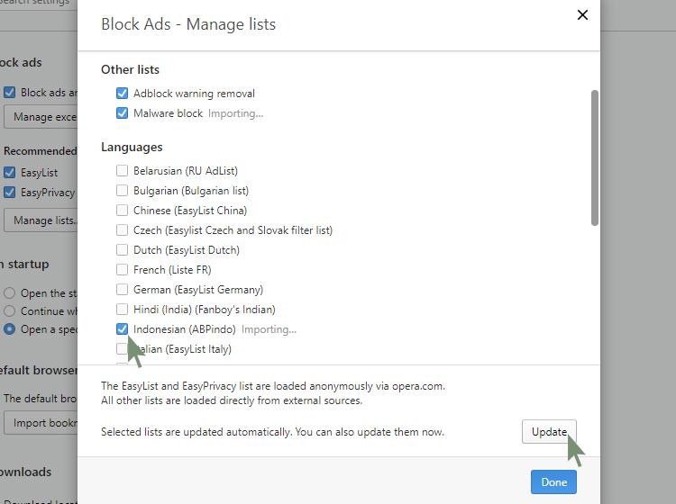 AdBlock pada Opera Browser