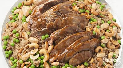 ساق الضأن المشوي مع الأرز الشرقي