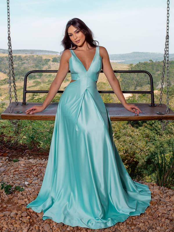 vestido de festa longo verde tiffany para madrinha de casamento