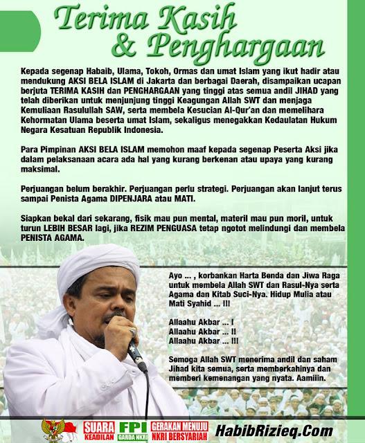 Habib Rizieq Ucapkan Terima Kasih & Penghargaan Kepada Seluruh Umat Islam di Indonesia