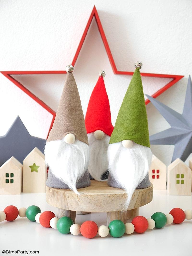 DIY Gnomes de Noël Sans Couture avec des Patrons GRATUITS - un projet facile et rapide pour faire sa décoration de Noel style Scandinave! by BirdsParty.com @birdsparty #diy #gnomesnoel #noel #deconoel #decoratioonnoel #noelscandivane #gnomes #noeltraditionel #diynoel