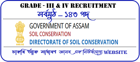 Soil Conservation Assam Recruitment for 143 Grade III and Grade IV Post