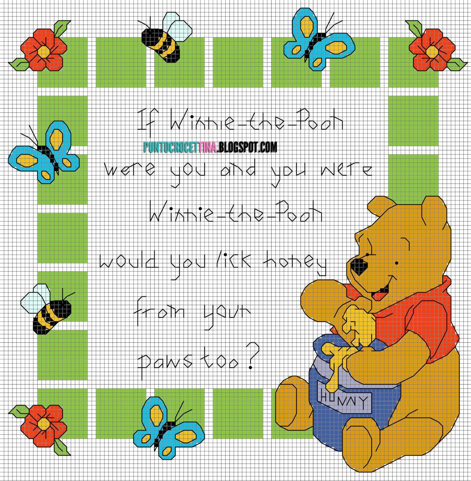 Schema punto croce winnie the pooh poema gratis for Winnie the pooh punto croce